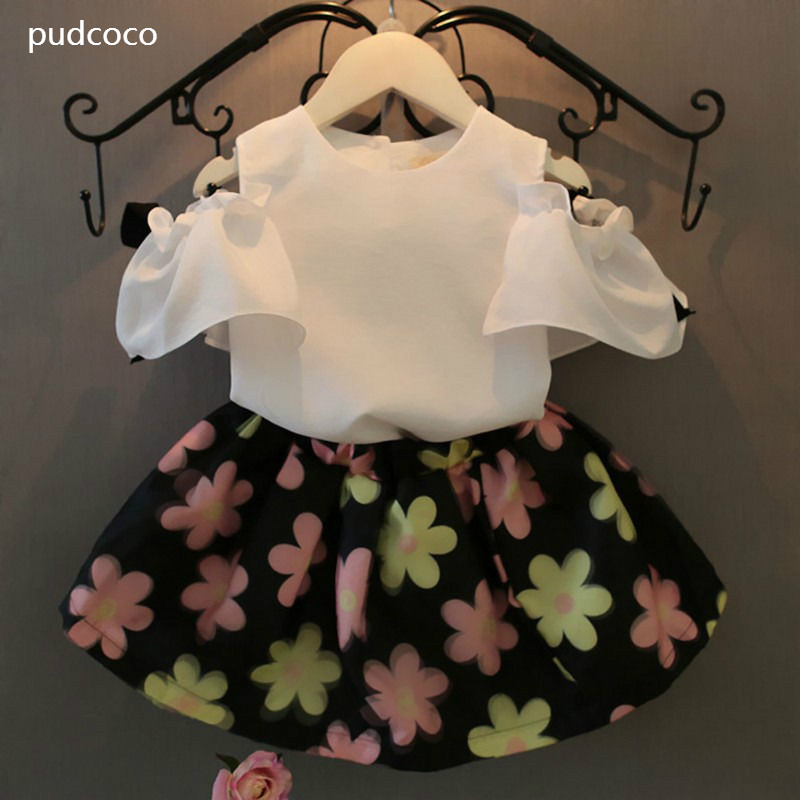 Chiffon Baby Kids Girls Summer Off shoulder White Shirt Tops Flower Skirt Outfits Clothes Sets Cute Baby Girl Clothing 2-7Y newborn baby girls clothes set off shoulder girl costume blue sleeveless denim tops ruffle shorts outfits summer clothing 2pcs