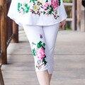 Fashion Embroidery Pant Summer Women Female New Large Size Chinese Ethnic Style Cotton Elastic Leggings