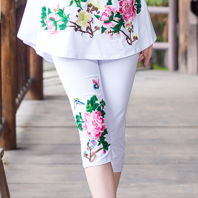 Fashion Embroidery Pant Summer Women Female New Large Size Chinese Ethnic Style Cotton Elastic Leggings