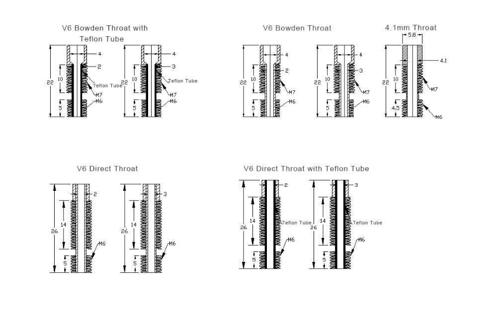 V6 Throat สแตนเลส Bowden หลอดเทฟลอนยาว 3d เครื่องพิมพ์สำหรับ 1.75 Mm 3mm Filament โลหะเต็มรูปแบบส่วน Bore 4.1mm