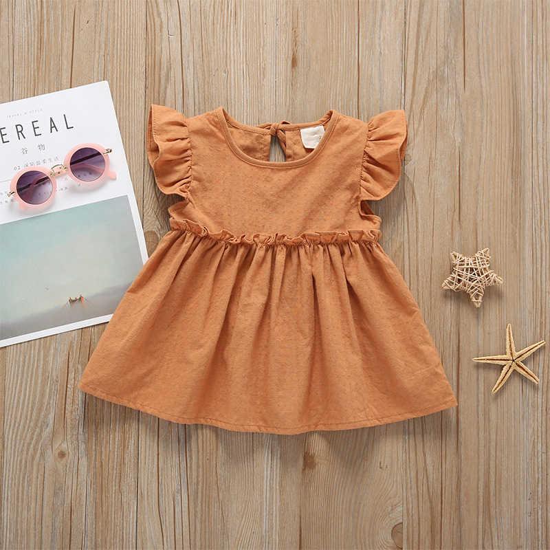 2019 Musim Panas Bayi Balita Bayi Gadis Woven Gaun Solid Gadis Kecil Yang Lucu Gaun untuk 1-4 Tahun