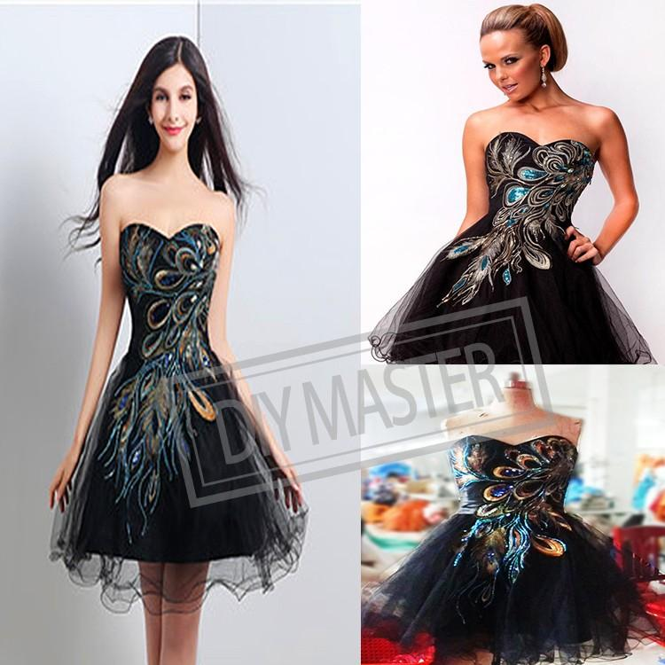 a09f26cb 36*63cm Colorful Phoenix Feather DIY Patch Sequin Embroidery Applique On  Black Mesh Fabric For Classic Performing Evening Dress