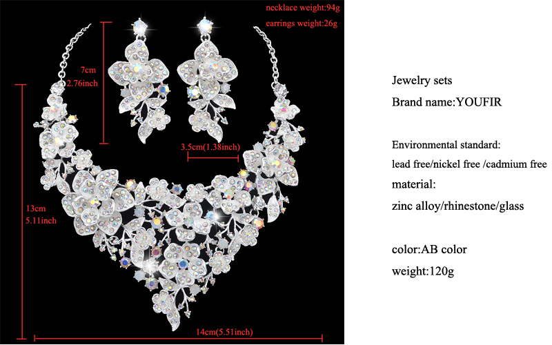 Wedding White Rhinestones Crystals Red Glass Drop Necklace Pendant Earrings Set