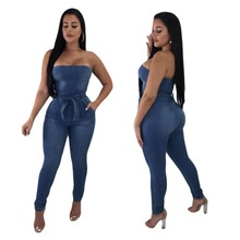 Spring and summer new hot Slim stretch womens trousers fashion personality pants high waist casual denim jumpsuit