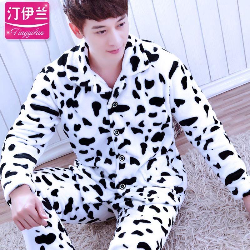 Adult Winter Warm Pajamas Mens Flannel Comfortable Sleepwear Male Coral Fleece Homewear Long Sleeve 2pcs Plus Size  D-2060