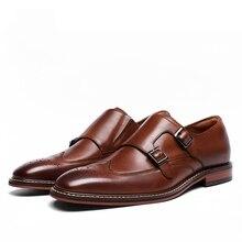 דסאי אמיתי עסקי עור בעבודת יד שמלת נעליים לגברים 2020 כפול נזיר רצועת פטנט באיכות גבוהה