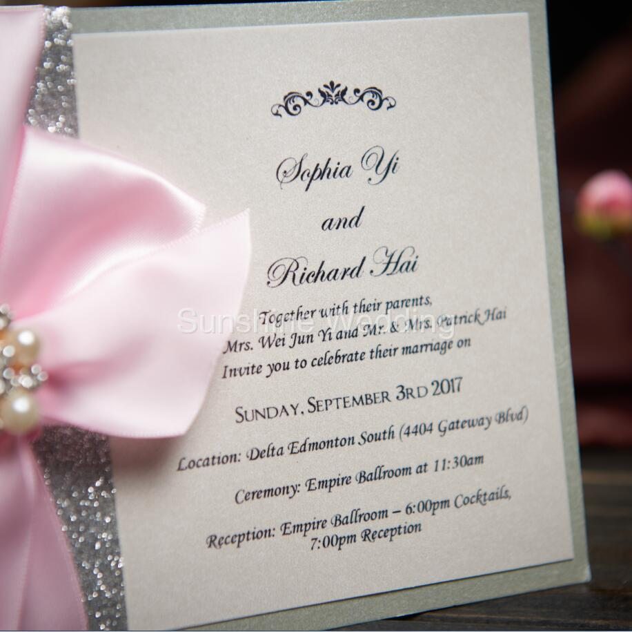 Rustic wedding invitations card with ribbon bow and rhinestone rustic wedding invitations card with ribbon bow and rhinestone buckle custom pink wedding cards birthday invitations cky921 in cards invitations from home solutioingenieria