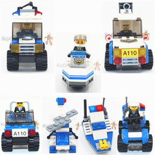 1pcs/lot City Police Series Building Blocks Police Minifigures Car Motorcycle Blocks Assembled Toys for kids as lepin