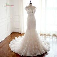 Giấc mơ Thiên Thần Robe De Mariee Ren Mermaid Wedding Dresses 2017 Cap Sleeve Beaded Appliques Hoa Vintage Bridal Gown Cộng Với Kích Thước