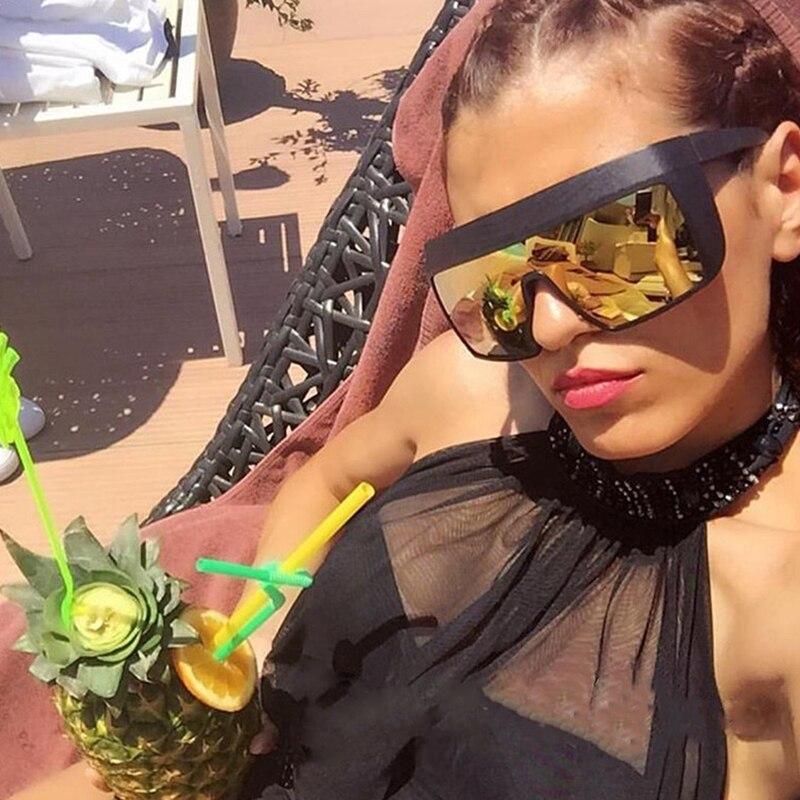 ANEDF Dames Zonnebril Fashion Vintage Goggles Zonnebril voor Heren Oversized Grote Frame Rivet Zonnebril UV400 Bescherming