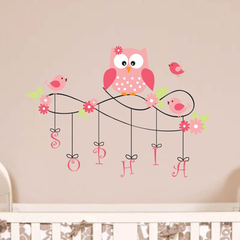 b13 owl wall decal personalized name vinyl birds flower wall sticker