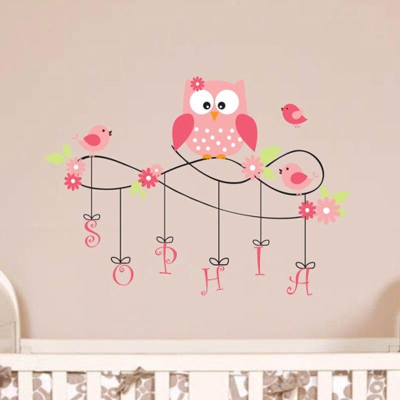 b13 sticker mural hibou nom personnalise vinyle oiseaux fleur sticker mural art mural vinyles stickers muraux hiboux pepiniere enfants decor de