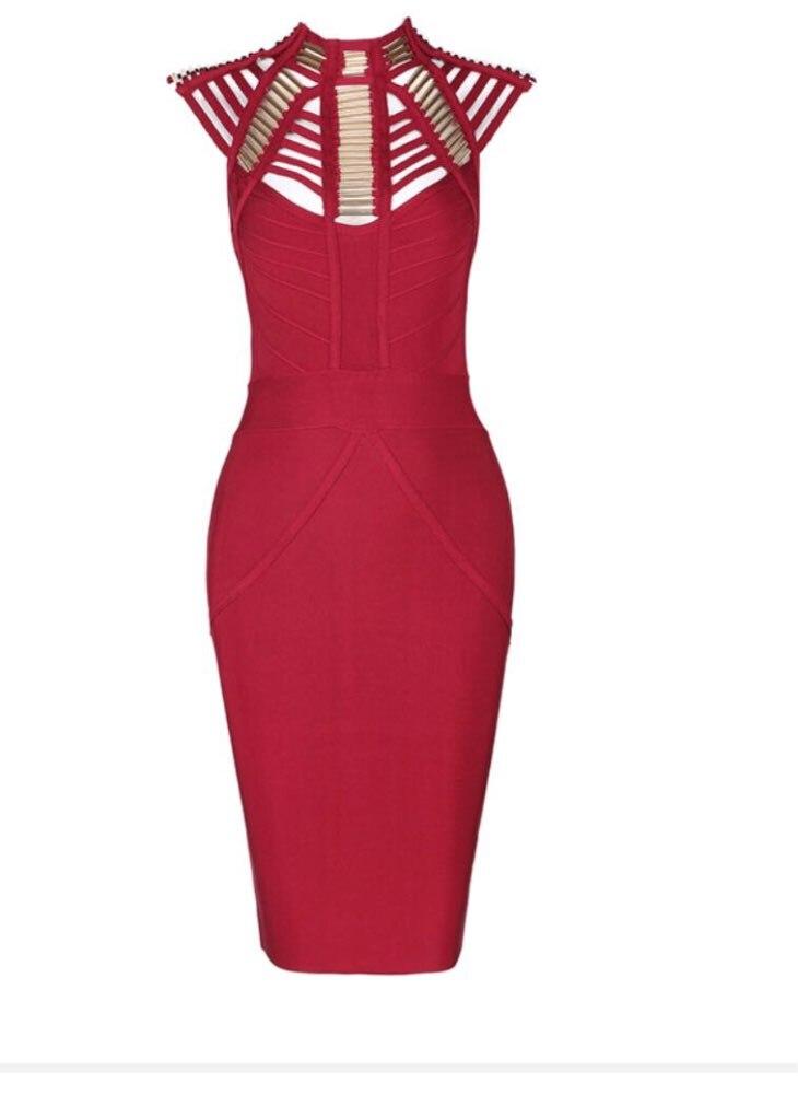 2018 Neue Ankünfte Sommer Frauen Kleid Großhandel Schwarz Wein Rot Metall Detaillierte Verband Kleid Party Kleid Kleid + Anzug
