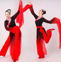 New Woman Gradient Ink Water Sleeves Costumes Chinese Classical Dance Clothes Black Red Long Sleeves Hanfu