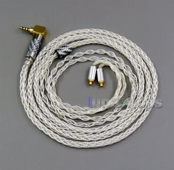 8 cores 99.99% Pure Silver Earphone Cable For Shure se535 se846 MMCX 5 6 8 10 12 20 BA Custom LN006247