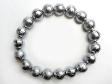 Genuine Natural Gibeon Meteorite Moldavite Round Beads Bracelets 10mm Stretch Crystal 925 Silver 19Beads