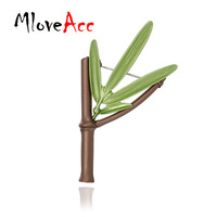 MloveAcc Vintage Fashion Bamboo Branch Leaf Green Coating Brooch Pin For Women Party Wedding Shawl Buckle