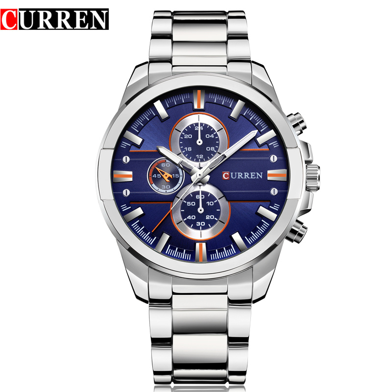 CURREN Luxury Casual Men Watches Military Quartz Male Wristwatch Stainless Steel Waterproof Relogio Masculino Montre Homme