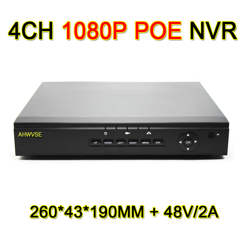 AHWVSE H.264 1080P POE NVR 4CH 8CH Network Video Recorder 8 Channel POE NVR with 48V 2A Power Supply