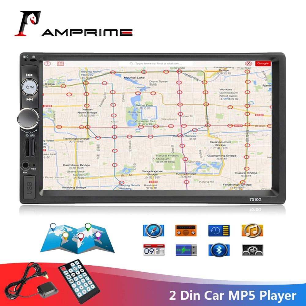 AMPrime 7010G 2 Din Car Radio GPS Navigation Autoradio Bluetooth AUX USB MP3 Stereo Audio FM