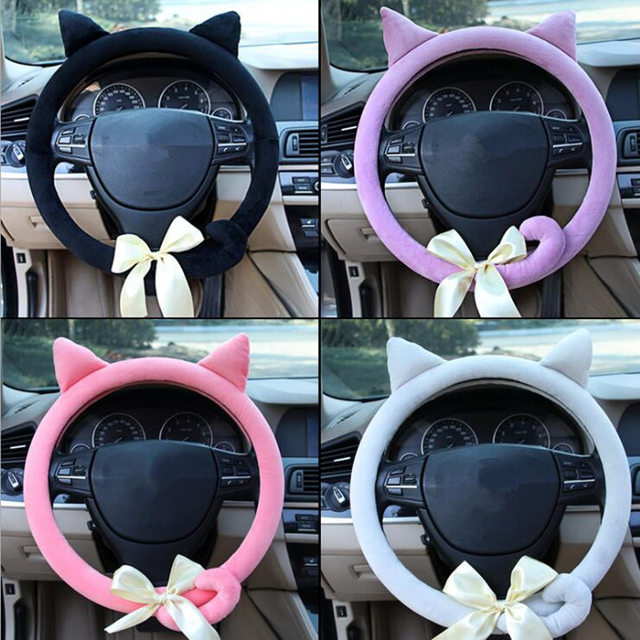 040f44b3e534 US $6.0 25% OFF DONYUMMYJO Creative Cute cartoon car steering wheel cover  winter plush Back cat women girls wheel covers car styling decorations-in  ...