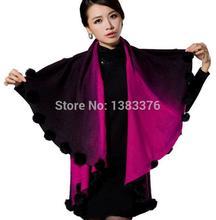 Scarves Shawl 2015 new winter coat large size womens rabbit fur ball double jacquard knit cape shawl cardigan women 42238