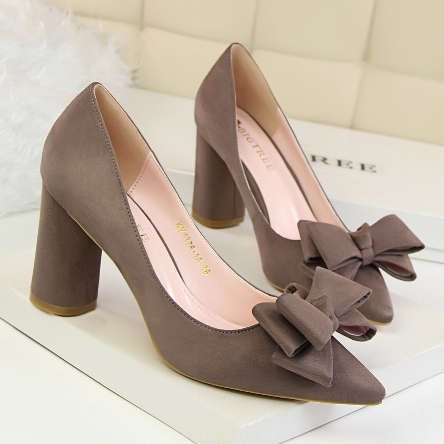 BIGTREE Women Pumps Spring Women High Heels Shoes Elegant Sweet Bow Thick Heeled Shallow Point Flock Suede Single Shoes 1376-1A