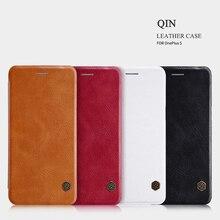 Для OnePlus 5 Оригинальный кожаный чехол Nillkin Qin Смарт сна флип кожаный защитный чехол Бесплатная доставка