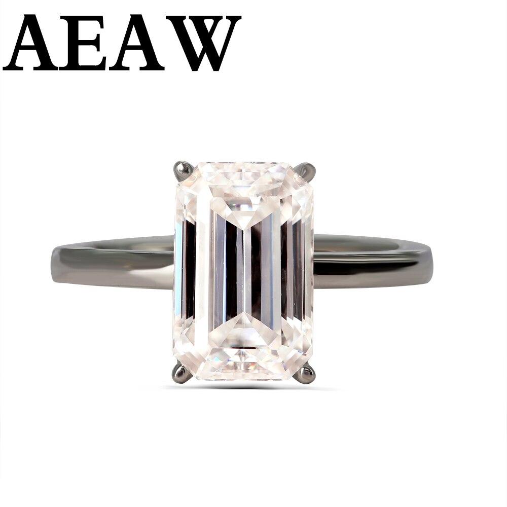 럭셔리 3 캐럿 moissanite 반지 솔리드 10 k 화이트 골드 약혼 반지 에메랄드 컷 실험실 여성을위한 다이아몬드 결혼 반지를 성장-에서반지부터 쥬얼리 및 액세서리 의  그룹 1