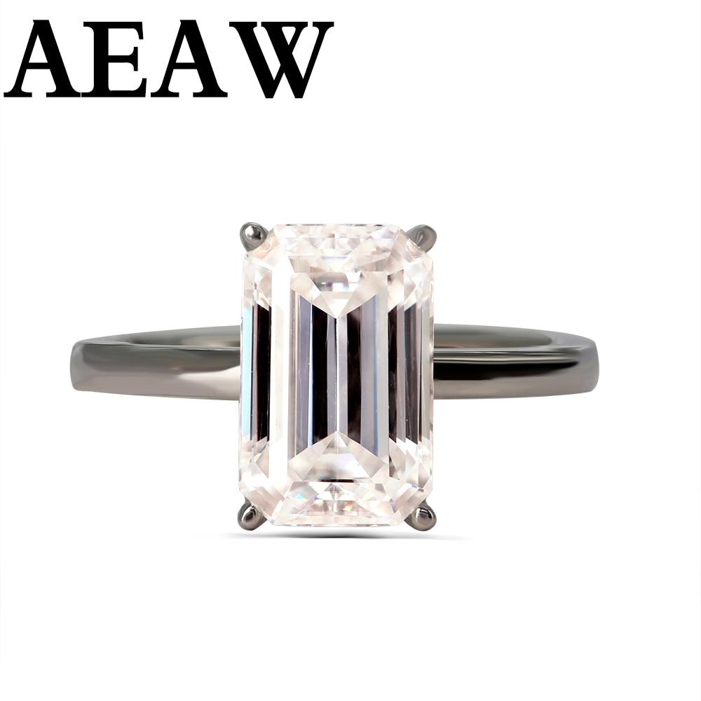 Luksusowe 3carat Moissanite pierścień stałe 10K białe złoto pierścionek zaręczynowy Emerald Cut Lab Grown diamentowy pierścionek zaręczynowy dla kobiety w Pierścionki od Biżuteria i akcesoria na  Grupa 1