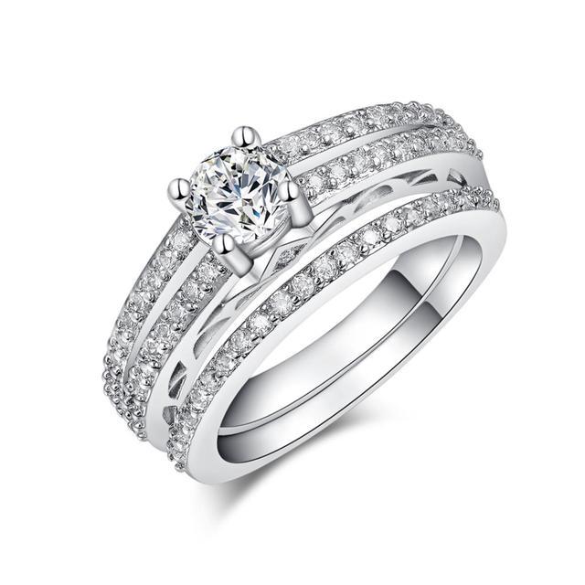 2017 love Luxury women wedding ring sets lady jewelry zircon finger