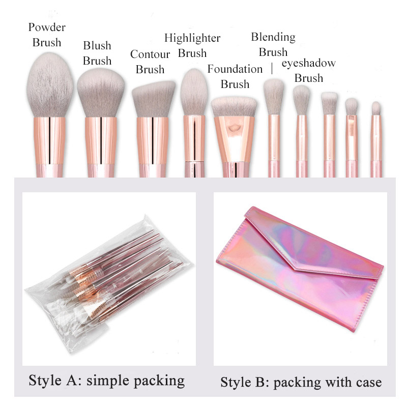 Pro 10pcs Makeup Brushes Top Quality Powder Highlighter Eye Make Up Brushes Set Cosmetics Soft Synthetic Hair With Laser PU Case in Eye Shadow Applicator from Beauty Health