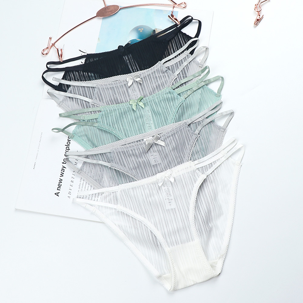 Transparent Vertical Striped Breathable Panties Hollow Out Charming Cotton Panties Women Thin Sexy Lace Gauze Low Rise Panties