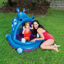 Hippopotamus-shaped High-density non-toxic PVC plastic children's inflatable paddling pool Bathtub sand pool marine ball pool multifunctional castle shape inflatable paddling pool swimming pool for kids made of nontoxic high density tough pvc play pool