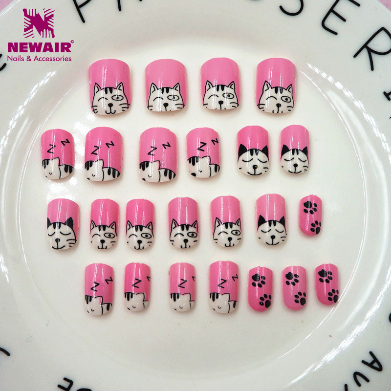 24pcs Press on Kids False Nail Tips Cartoon Cat Full Cover ...