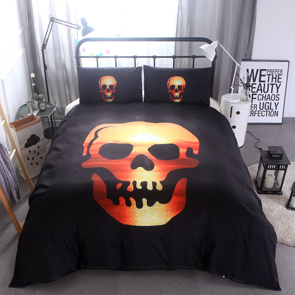 How Big Is A Super King Bed 3d Skull Bedding Sets Plaid Duvet Covers For Super King Queen Size Bed Halloween Style Skull Hat Duvet Cover Dekbedovertrek In Bedding Sets From Home