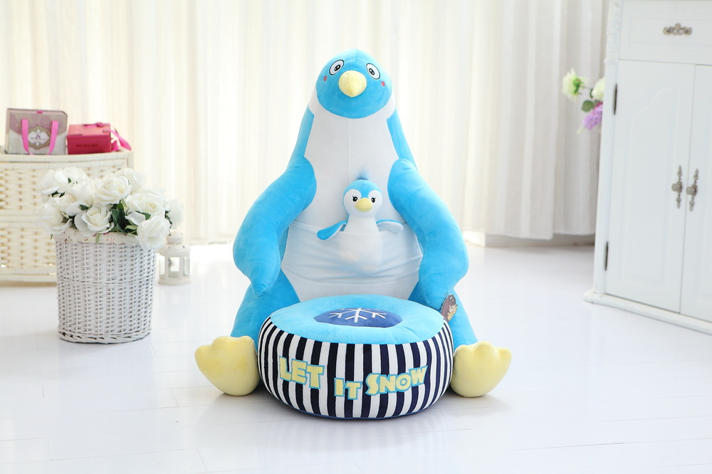 Фотография lovely plush fat blue penguin toy cartoon penguin sofa with a baby children