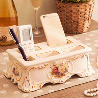 Famous European style ceramic office desk, storage box, pen holder, living room remote control storage rack