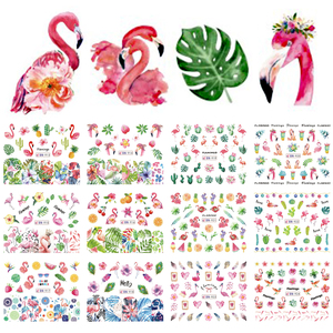 Image 2 - 12 Design Flamingo Nail Sticker Water Decals Flowers Green Plants Sliders Decorations Nail Art Wraps Manicure Tips BEBN913 924
