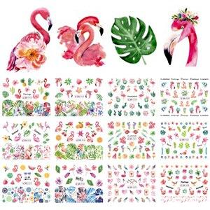 Image 2 - 12 diseños de pegatinas de flamenco para uñas, calcomanías al agua, flores, plantas verdes, decoraciones, envolturas para manicura, consejos BEBN913 924