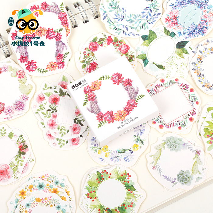 Korean Stationery Cute Flower Garland Paper Sticker  Decorative Sealing Stickers Planner Diary Notebook DIY Stationery Stickers japan imports midori planner calendar decorative stickers cute animal 5pcs