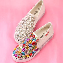women flats Fashion casual handmade rhinestone Sweet Cloth canvas shoes High quality new women single shoes free shipping