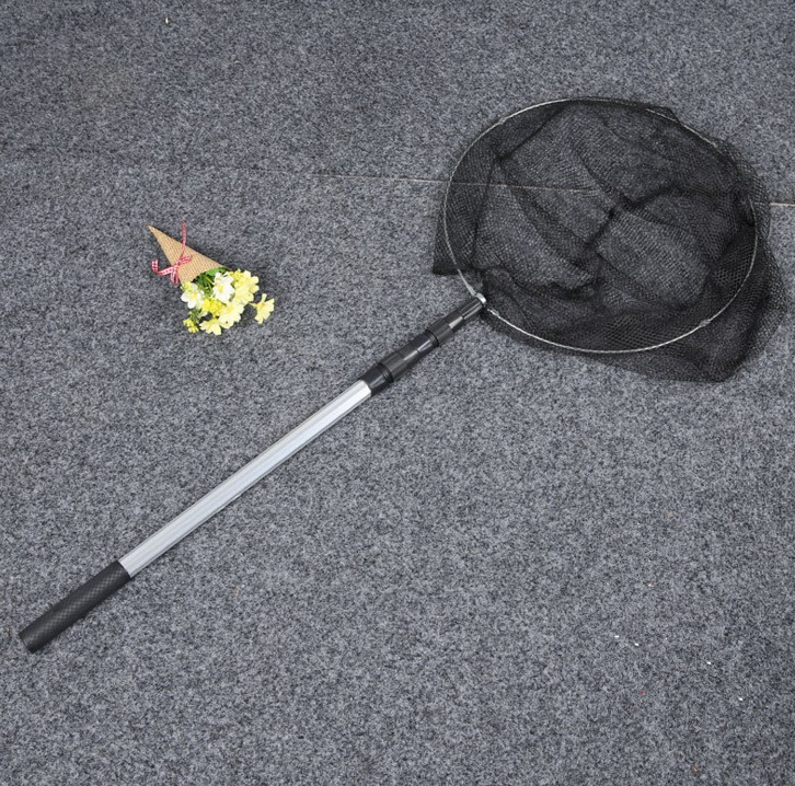round frame Folding Fishing Landing Net Aluminum 3 Section Extending Pole Handle Fishing Tackle Equipment Accessory