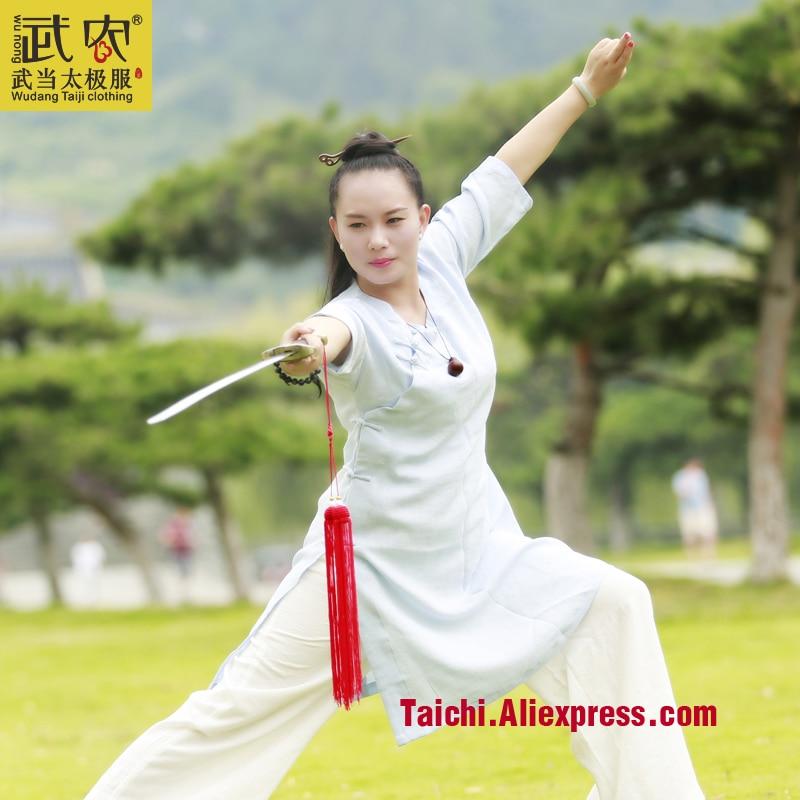 Female Flax Practice Performing Martial Arts Taijiquan Exercise Clothing Tai Chi Uniform