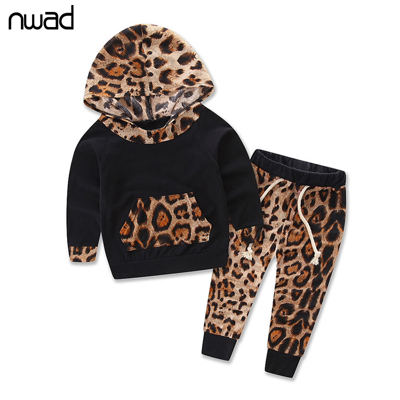 Leopard Baby Girl Clothes Newborn Infant Hooded Sweatshirt Tops+Pants 2Pcs Outfits Toddler Kids Cotton Lycra Clothing Set FF233 2pcs children outfit clothes kids baby girl off shoulder cotton ruffled sleeve tops striped t shirt blue denim jeans sunsuit set