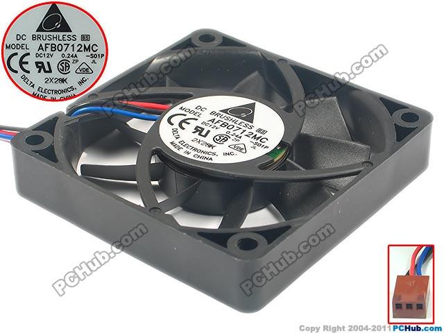 Delta Electronics AFB0712MC -S01P Server Square Fan DC12V 0.24A 70x70x15mm 3-wire