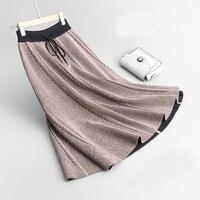 2019 Harajuku Autumn Women Skirts Stretch Waist Slim Knitted Midi Skirts Saia Faldas Female Women Camel Knee Length Skirt Black