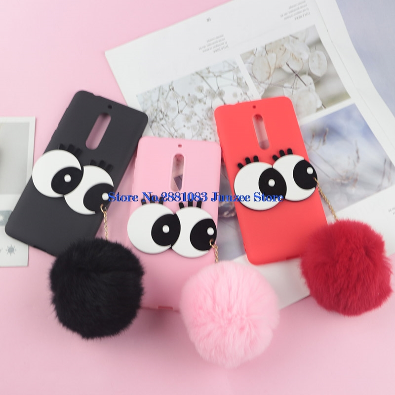 3D Cartoon Hard Big Eyes Case For <font><b>Nokia</b></font> 5 Rabbit Fur Fluffy Ball Fuzzy Case For <font><b>Nokia</b></font> 5 TA-<font><b>1053</b></font> TA-1024 TA-1044 Soft TPU Cover image