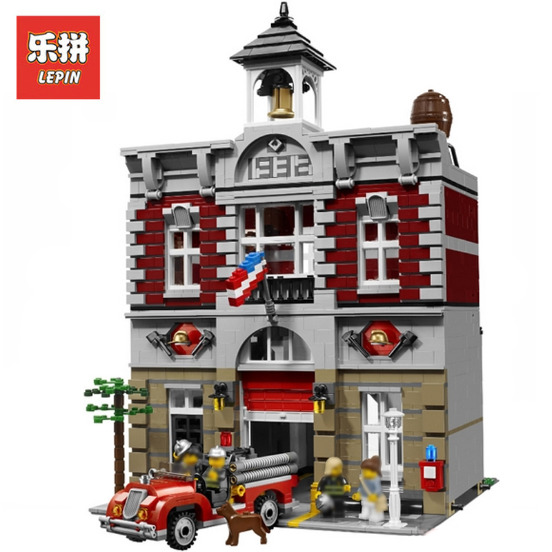 In Stock DHL Lepin Sets 15004 2313Pcs City Street Figures Fire Brigade Model Building Kits Blocks Bricks Educational Toys 10224 city architecture mini street scene view reims cathedral police headquarters library fire departmen building blocks sets toys