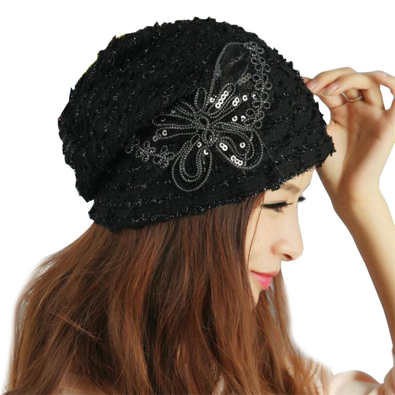 2019 New Design Woman Beanies Khaki Hats Female Paillette Butterfly Knot Hat For Women Circle Yarn Cotton Black Muslim Cap M081